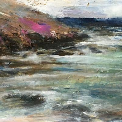 Breezy day on Porthmeor beach, St. Ives.  I painted this on the beach !   Acrylic painting