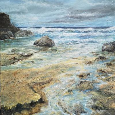 Textures Sands Acrylic painting of St Agnus Cornwall. 76x50cm stretched canvas