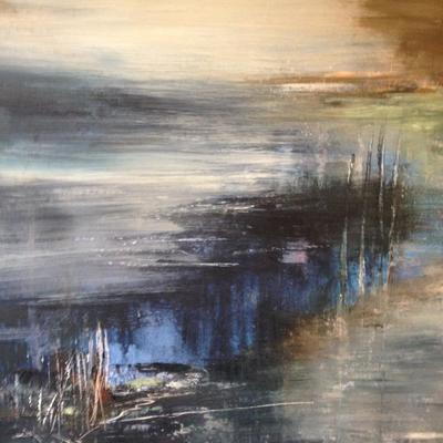 Blue Light on The Marshes - acrylic on board