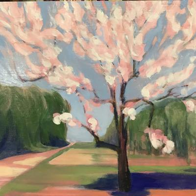 Edge of the Orchard 1 - April 2020, oil on board