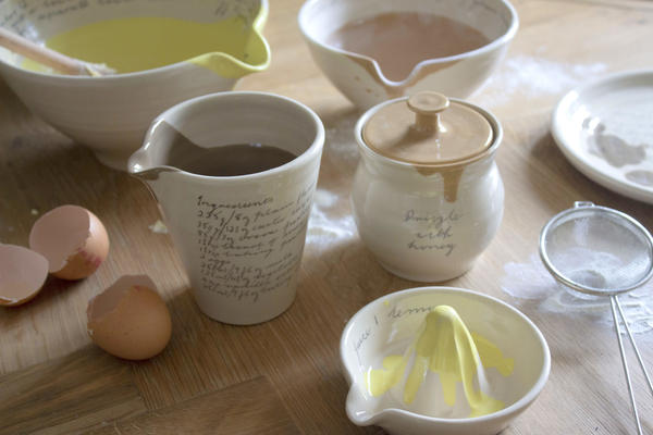 Hand thrown, functional ceramics designed for the home, decorated with snippets of Alice's late grandmother's handwriting