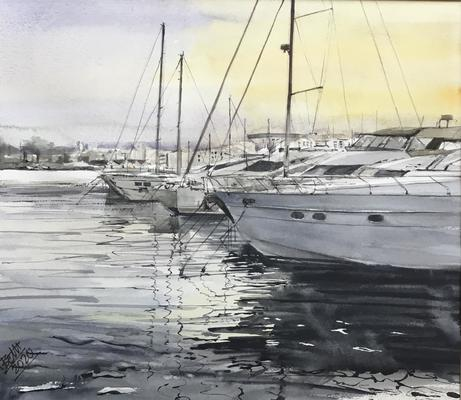 Dénia Harbour, Spain. Original Watercolour taken from my own reference photo