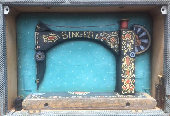 Recycled wood Singer Sewing Machine