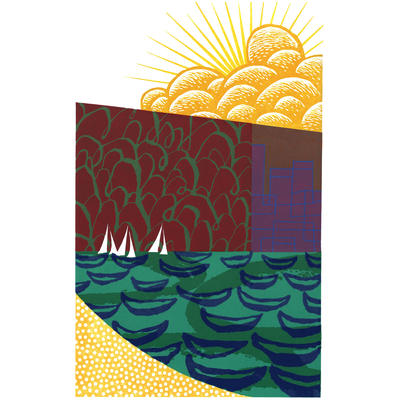Early Start [Cornwall Remembered] A colourful reduction linocut.