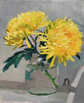 Oil Painting of Yellow Blooms. 25cm x 30cm
