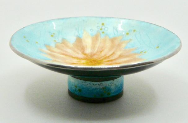 Coral bowl in sterling silver and enamel size 50mm diameter