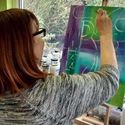 Me, in my studio, starting an intuitive painting.