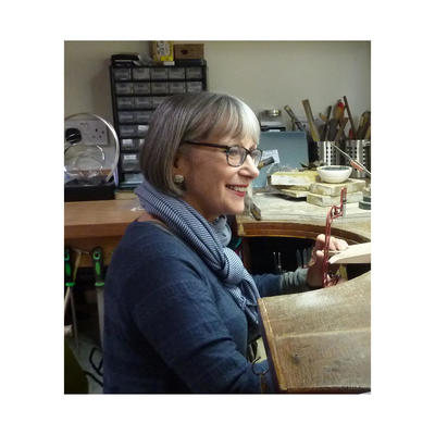 Jane Moore at her jewellery bench