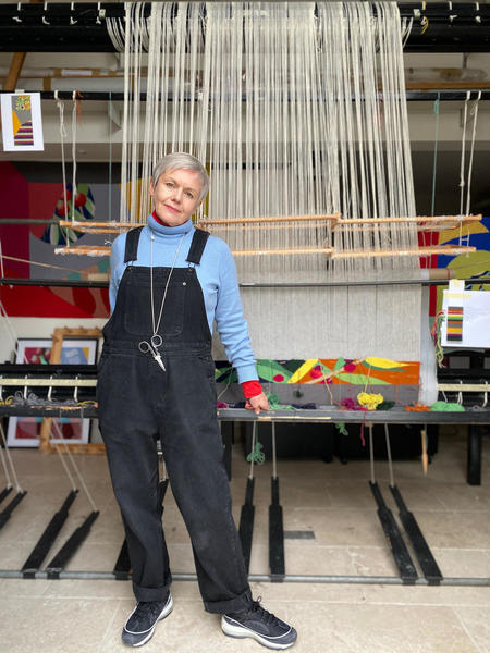 Jennie Moncur in her weaving studio