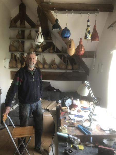 John Ingall in his gourd and glass studio