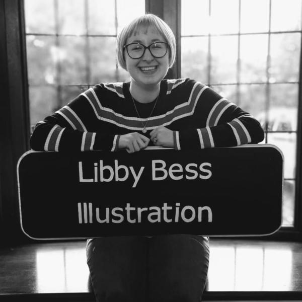 Libby sat with a sign for Libby Bess Illustration