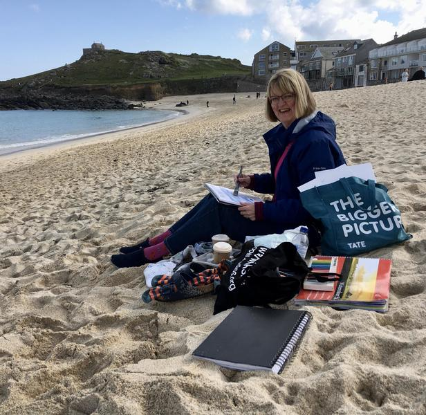 Painting on Porthmeor Beach in St. Ives