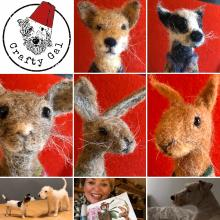 Needle Felt a beautiful hare, fox, badger, mouse or squirrel - in a cardigan!