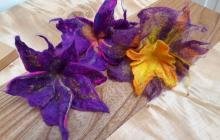 Wet felted flowers