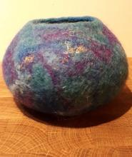 Wet felted bowl using the resist technique