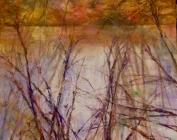 Painting of autumn reflections, New Forest