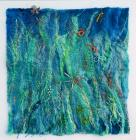 Diving I.  This is a felted artwork with mixed media, including silver wire, embroidery, copper wire.  Original or colour A2 prints available.