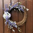 Purple lavender and hydrangea front door wreath